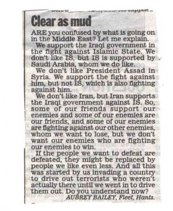 Letter to the editor of the Daily Mail in Britain